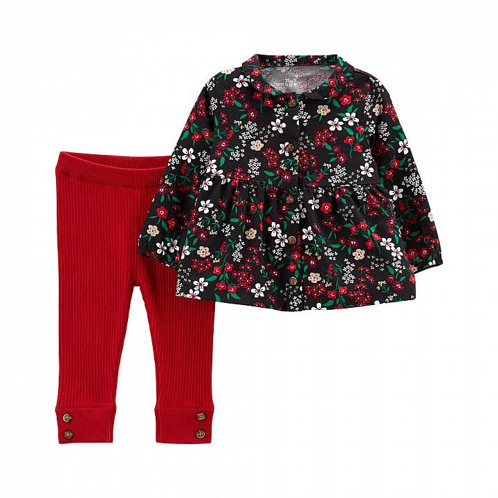 Комплект (2 шт) кофта з коротким рукавом, штани для дівчинки (1M081310_12M)