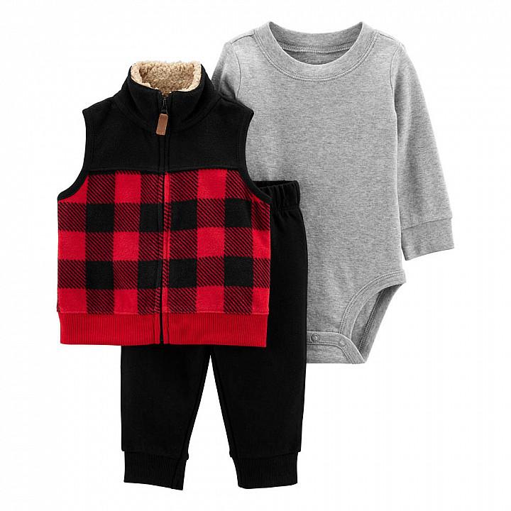 Комплект (3 шт) Боді з довгим рукавом, жилетка, штани для хлопчика (1M300710_12M)