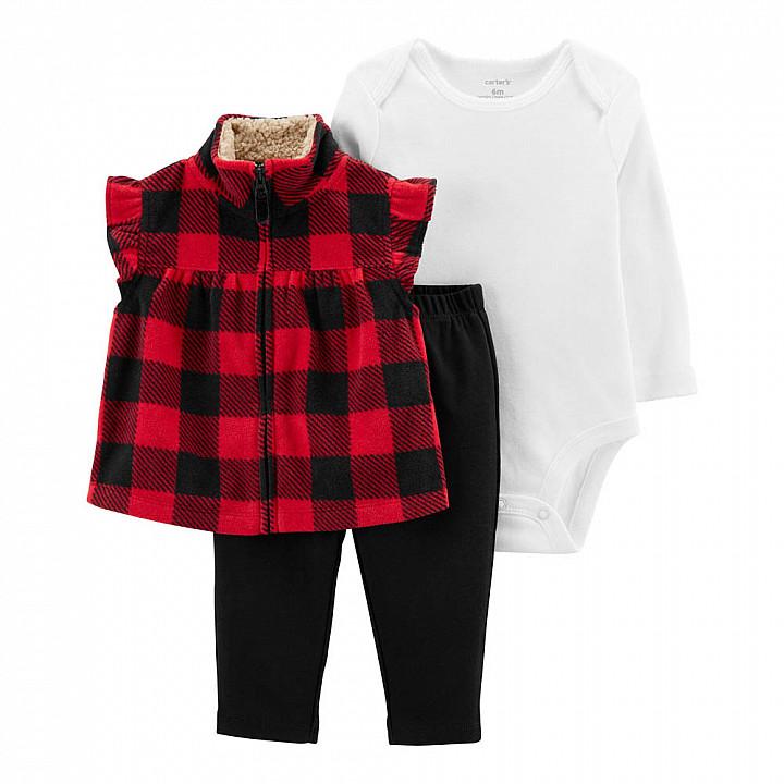 Комплект (3 шт) Боді з довгим рукавом, жилетка, штани для дівчинки (1M300810_12M)