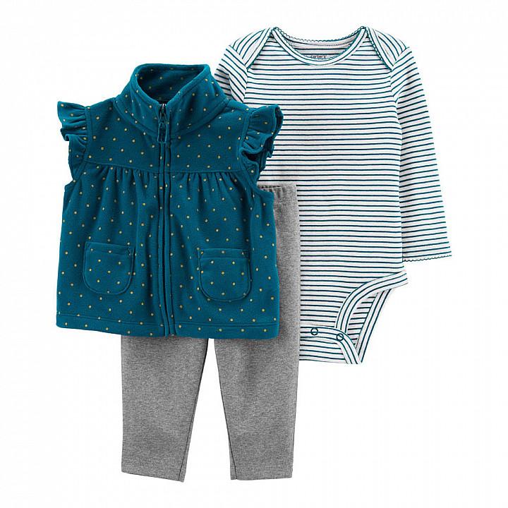 Комплект (3 шт) Боді з довгим рукавом, жилетка, штани для дівчинки (1M547010_12M)