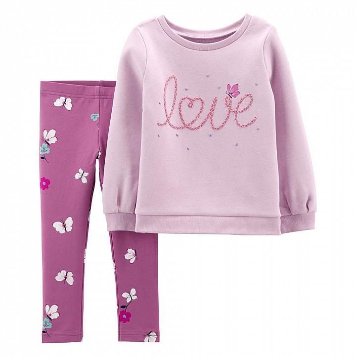 Комплект (2 шт) кофта з довгим рукавом, штани для дівчинки (2M010910_2T)