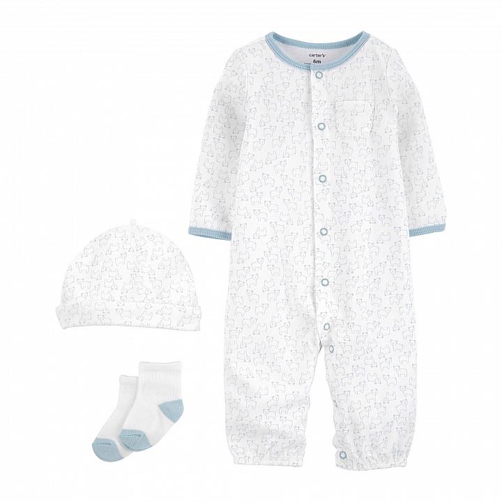 Комплект (3 шт.) шапочка, шкарпетки, сліп-чоловічок для хлопчика (0m) (1L775310_PRE)