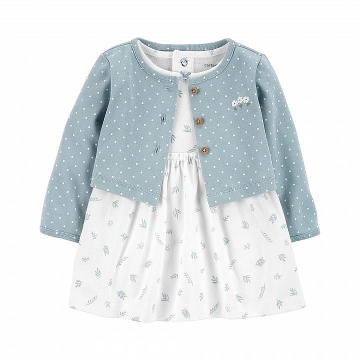 Комплект (2 шт.) сукня і кардиган для дівчинки (55-61cm) (1L778010_3M)