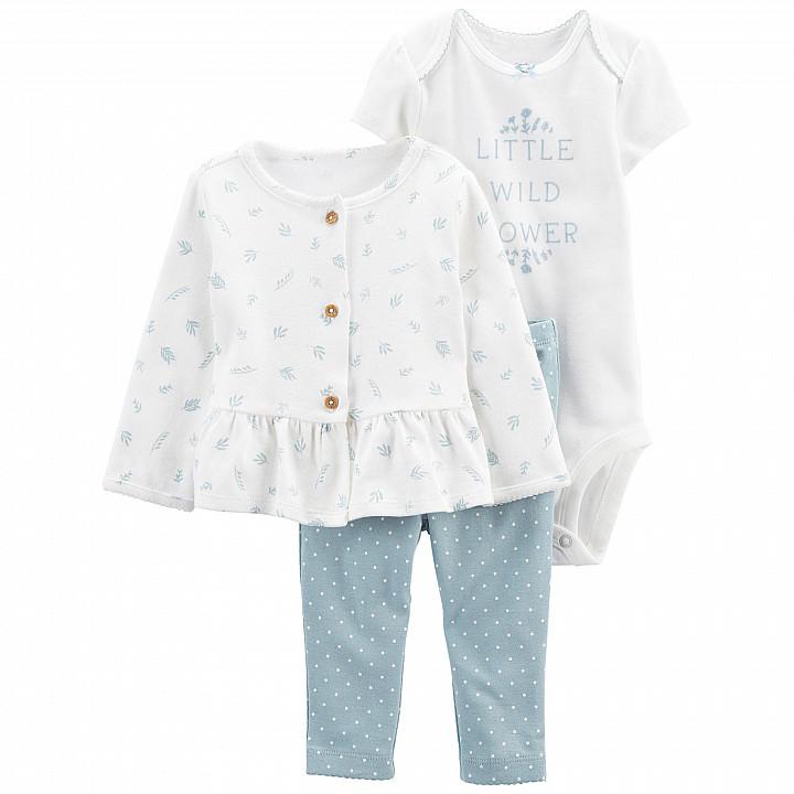 Комплект (3 шт.) кардиган, боді, штани для дівчинки (55-61cm) (1L778510_3M)