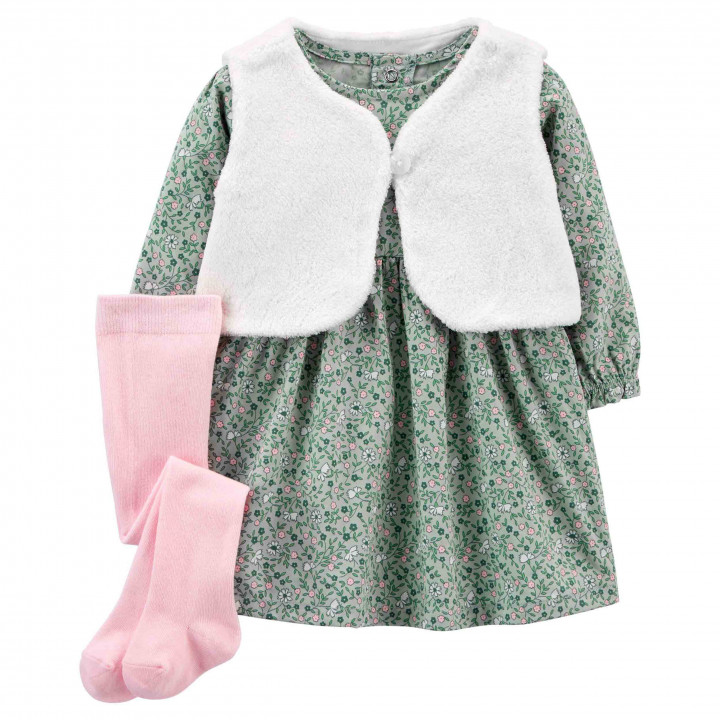 Комплект(3шт.)сукня,жилет,колготкидлядівчинки(55-61cm) (1J245510_3M)