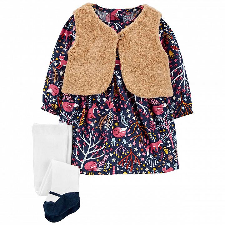 Комплект(3шт.)сукня,жилет,колготкидлядівчинки(61-69cm) (1M034610_6M)