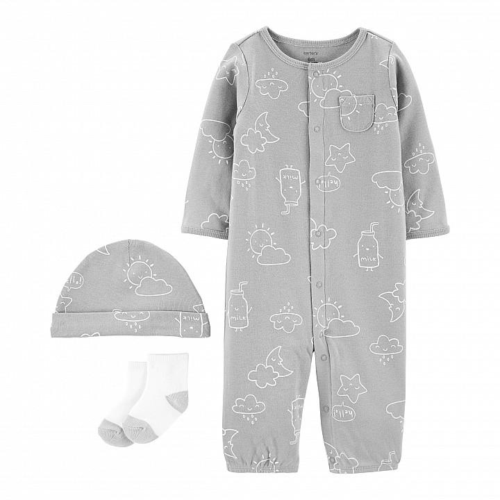 Комплект(3шт.)шапочка,шкарпетки,сліп-чоловічок (1I722910_9M)