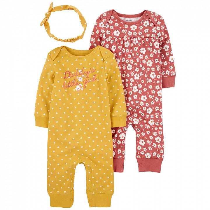 Комплект (3 шт.) боді, сліп-чоловічок, штани для дівчинки (55-61cm) (1L761010_3M)