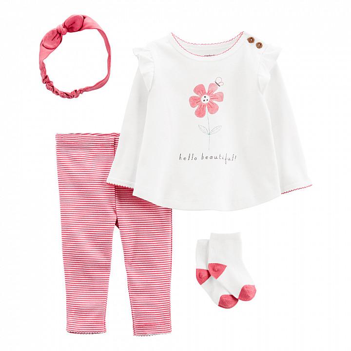 Комплект (4 шт.) штани, кофта, шапочка, шкарпетки для дівчинки (55-61cm) (1L777710_3M)